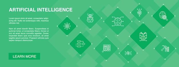 Kunstmatige intelligentie banner 10 pictogrammen algoritme diep leren neurale netwerk eenvoudige pictogrammen