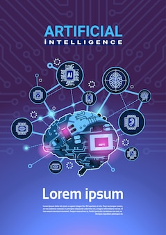 Kunstmatige intelligentie banner met cyber brain kogge wheel en gears over moederbord verticale achtergrond