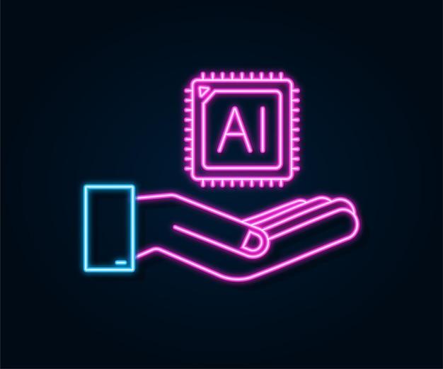 Kunstmatige intelligentie bestemmingspagina ai neonpictogram met handen websitesjabloon