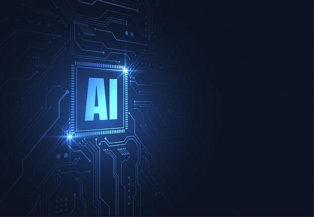 Kunstmatige intelligentie chipset op printplaat in futuristisch concept