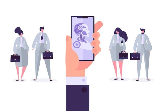 Kunstmatige intelligentie concept. hand met mobiele telefoon met bot-applicatie. technologie en techniek versus zakenmensen.