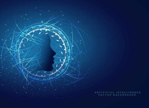 Kunstmatige intelligentie conceptontwerp met virtueel gezicht ontwerp