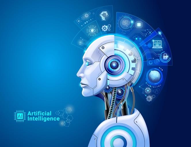 Kunstmatige intelligentie digitale technologie concept. robot met hologramhersenen en illustratie van big data-analyse