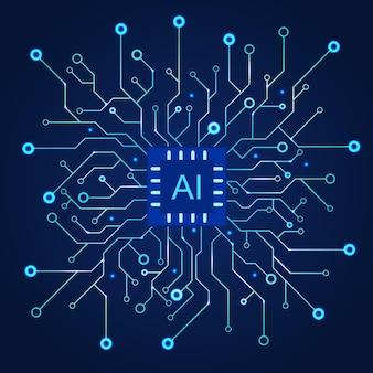 Kunstmatige intelligentie donkerblauwe achtergrond. machineprogrammering en ai-chip op computer. circuit moederbord moderne technologie. vector illustratie