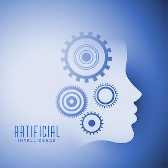 Kunstmatige intelligentie gezicht met versnellingen symbool ontwerp