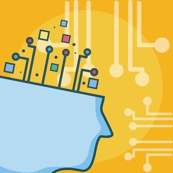 Kunstmatige intelligentie hoofd sihouette