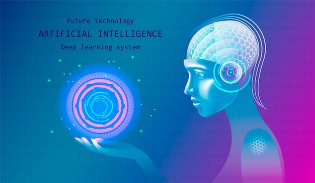 Kunstmatige intelligentie in het hoofd van een mensachtige met een neuraal netwerk denkt. vrouwelijke gezichtsrobot. ai met digital brain is training in big data-verwerking, informatie-analyse, machine learning.