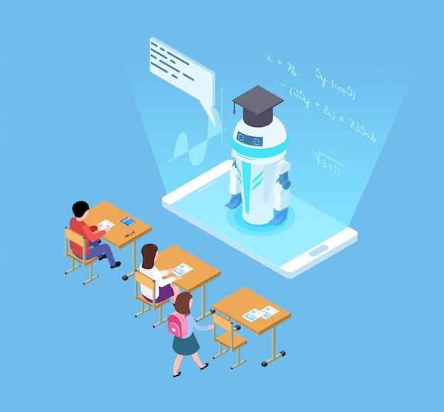 Kunstmatige intelligentie in het onderwijs. isometrische vector robot leraar en studenten