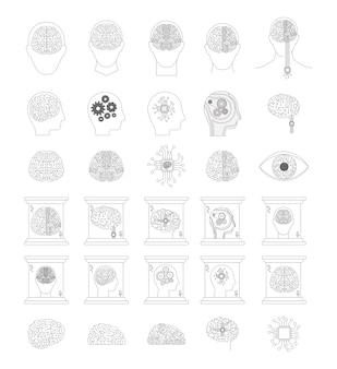 Kunstmatige intelligentie ingesteld in zwart-wit silhouet