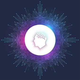 Kunstmatige intelligentie-logo. kunstmatige intelligentie en machine learning-concept. vector symbool ai. neurale netwerken en andere moderne technologieën concepten. technologie sci-fi-concept.