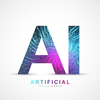 Kunstmatige intelligentie logo plexus-effect. kunstmatige intelligentie en machine learning-concept. vector symbool ai. neurale netwerken en andere moderne technologieën concepten. technologie sci-fi-concept.