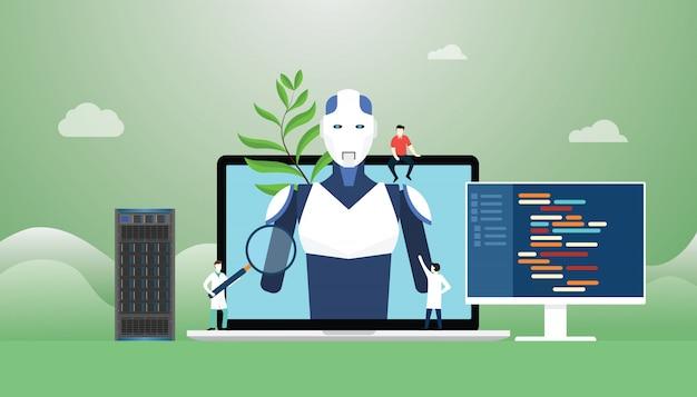 Kunstmatige intelligentie met robot- en technologieontwikkelingsconstructie met programmeertaal met moderne vlakke stijl.