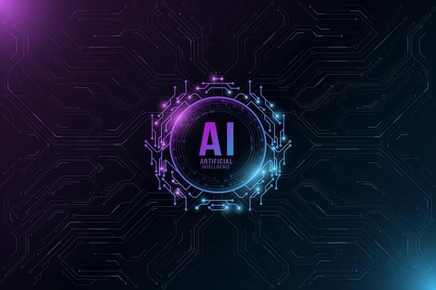 Kunstmatige intelligentie moderne technische achtergrond. computer printplaat.