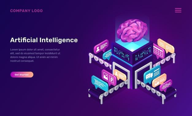 Kunstmatige intelligentie of ai isometrisch concept