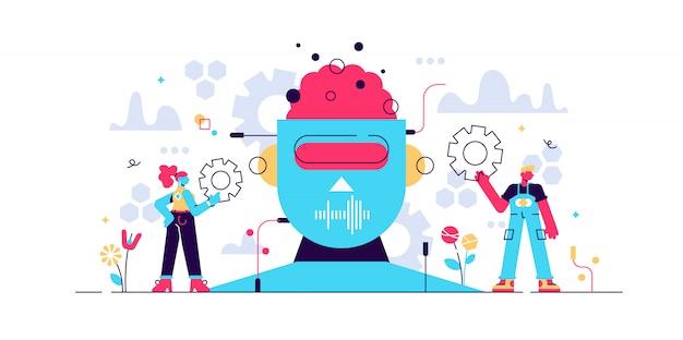 Kunstmatige intelligentie of illustratie. klein it-ingenieur persoon concept met werk aan robot creatie. futuristische technologie op moderne elektronische kop. virtuele intellecthersenen.