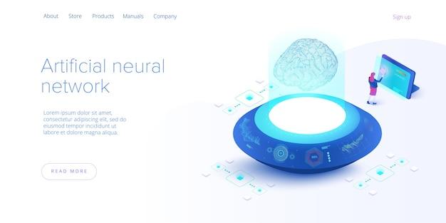 Kunstmatige intelligentie of neuraal netwerkconcept in isometrisch. neuronet of ai-technologieachtergrond met robot en menselijk wijfje. webbanner lay-out sjabloon.