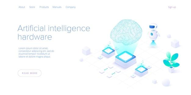 Kunstmatige intelligentie of neuraal netwerkconcept in isometrisch.