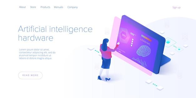 Kunstmatige intelligentie of neuraal netwerkconcept in isometrische illustratie. neuronet of ai-technologieachtergrond met robot en menselijke vrouw. webbanner lay-out sjabloon.