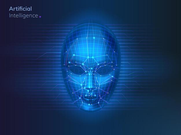 Kunstmatige intelligentie of robotgezicht met stippen en lijnen ai of cyber neurale netwerkverbindingen