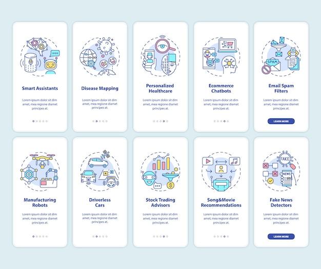 Kunstmatige intelligentie onboarding mobiele app-paginascherm met ingestelde concepten