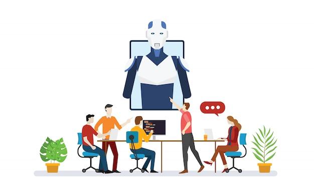 Kunstmatige intelligentie robot team ontwikkelaar programmeur met scripttechnologie discussie met moderne vlakke stijl - vector
