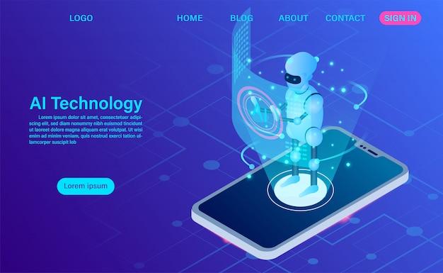 Kunstmatige intelligentie robottechnologie in mobiele bestemmingspagina voor software
