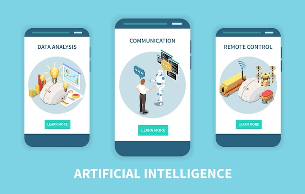 Kunstmatige intelligentie set isometrische verticale banners met data-analyse en afstandsbedieningsafbeeldingen met knoppen