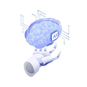 Kunstmatige intelligentie, slimme robot, bewuste machine, innovatieve technologie, hi-tech innovatie, wetenschappelijk onderzoek in cybernetica.