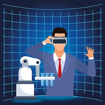 Kunstmatige intelligentie technologie man met vr bril en reageerbuizen