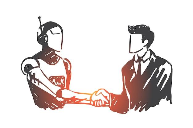Kunstmatige intelligentie, technologie, robot, geest, menselijk concept. hand getekend menselijke handen schudden met robot concept schets.