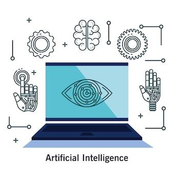 Kunstmatige intelligentie technologie set pictogrammen