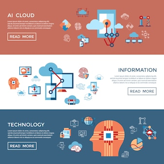 Kunstmatige intelligentie wolk iconen collectie