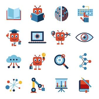 Kunstmatige intelligentie zelflerende pictogrammen collectie