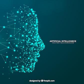 Kunstmatige intelligentieachtergrond met hoofd