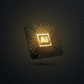 Kunstmatige intelligentieconcept microchip met printplaatpatroon