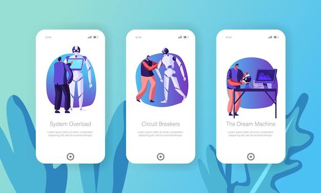 Kunstmatige intelligentietechnologie mobiele app-pagina schermset aan boord