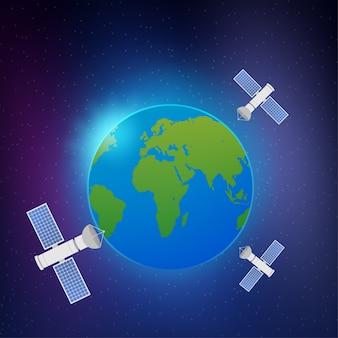 Kunstmatige satellieten in een baan om de planeet aarde