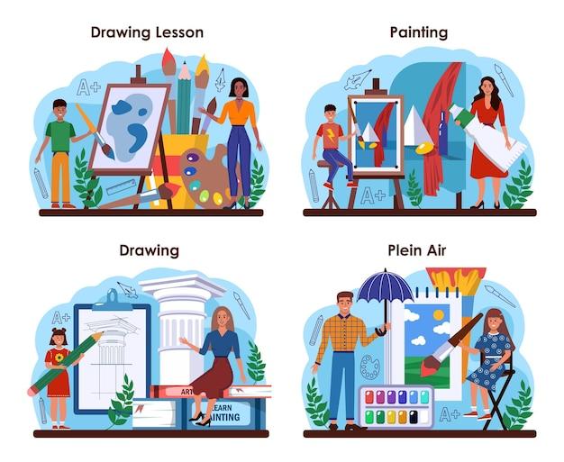 Kunstschool onderwijs set. student met kunsthulpmiddelen die leren tekenen
