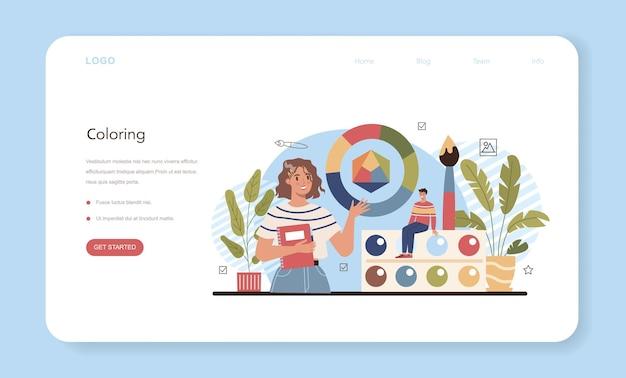 Kunstschool onderwijs webbanner of bestemmingspagina. studentenholding