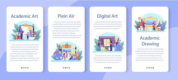Kunstschoolonderwijs mobiele applicatie banner set