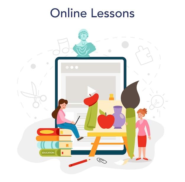 Kunstschoolonderwijs online service of platform. student die kunsthulpmiddelen houdt. kunstenaar die kinderen bestudeert om te tekenen en te knutselen. online les. platte vectorillustratie