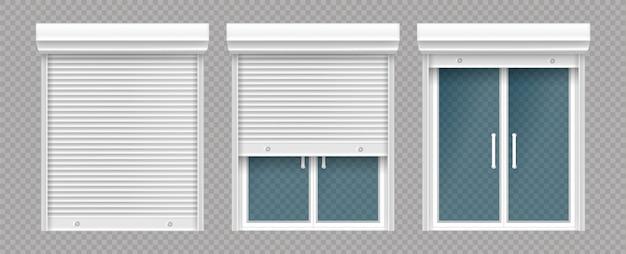 Kunststof raam met houten rolluik