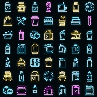 Kunststof servies pictogrammen instellen. overzicht set van plastic servies vector iconen neon kleur op zwart