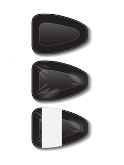 Kunststof zwart dienblad met wit label. opslag van piepschuim. donkere schuim maaltijd container, lege box set voor voedsel