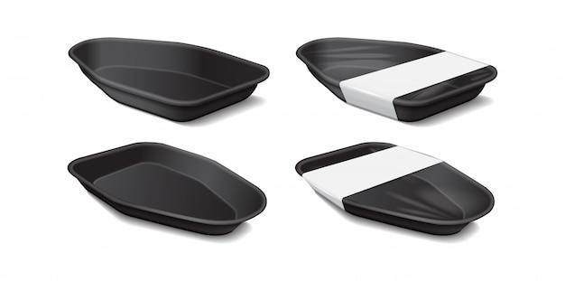 Kunststof zwart dienblad met wit label. zijaanzicht. opslag van piepschuim. donkere schuim maaltijd container, lege doos voor voedsel