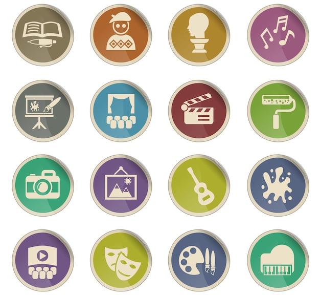 Kunstwebpictogrammen in de vorm van ronde papieren etiketten