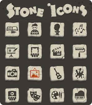 Kunstwebpictogrammen op stenen blokken in de stijl van het stenen tijdperk voor gebruikersinterfaceontwerp
