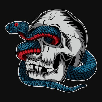 Kunstwerk en t-shirtontwerp schedel en adder slang premium vector