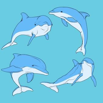 Kunstwerk illustratie dolfijn bundel set Premium Vector