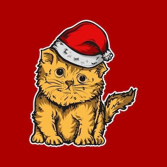 Kunstwerk illustratie en schattige kat met kerstmuts